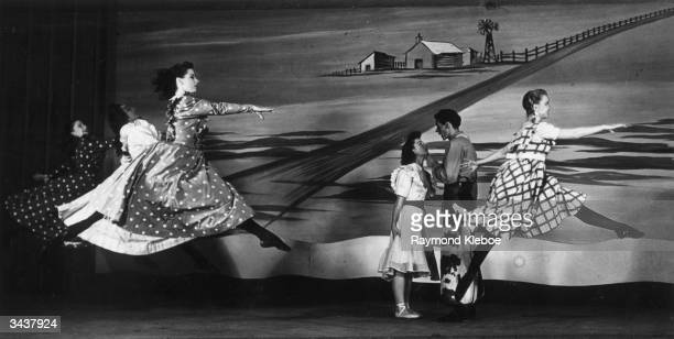 Margaret Auld Nelson playing Aggie Pigtails during a production of Oklahoma at the Theatre Royal Drury Lane Original Publication Picture Post 4413...