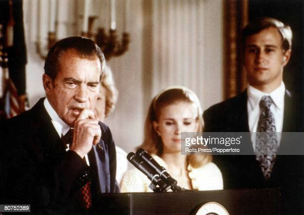 9th August 1974 American President Richard Nixon is pictured making his emotional resignation speech following the Watergate scandal