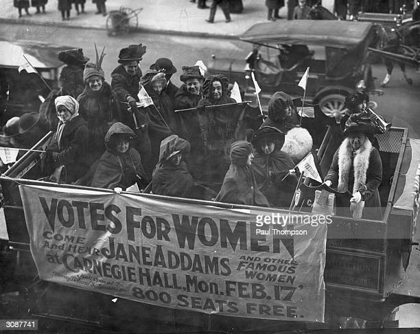 A banner advertising a talk on the Women's Suffrage Movement by Jane Addams and others at Carnegie Hall in New York