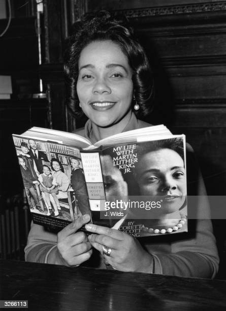Coretta Scott King widow of the assassinated American civil rights leader with a copy of her book 'My Life With Martin Luther King Jnr'