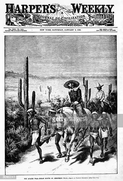 A group of Native American scouts leading a patrol on the hunt for Geronimo chief of the Chiricahua Apache tribe along the Mexican border Even after...
