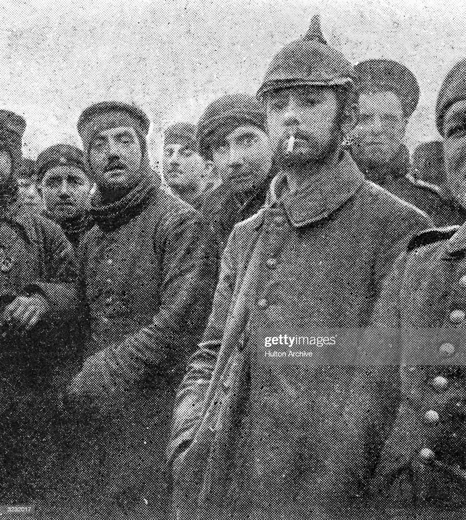 British and German troops make a Christmas and New Year truce in the trenches of the Western Front