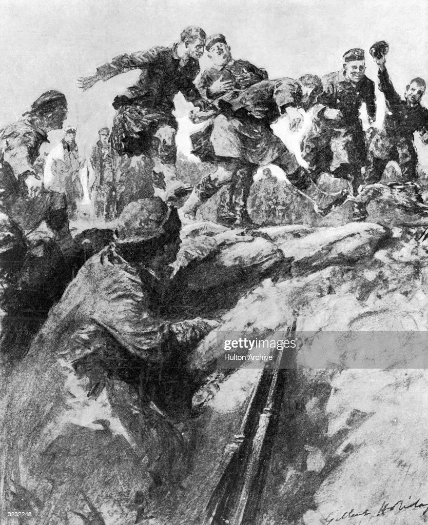 'Christmas Truce in the Trenches Friend and Foe Join in a Hare Hunt' Original Artwork Drawing by Gilbert Holliday from a description by an eye...