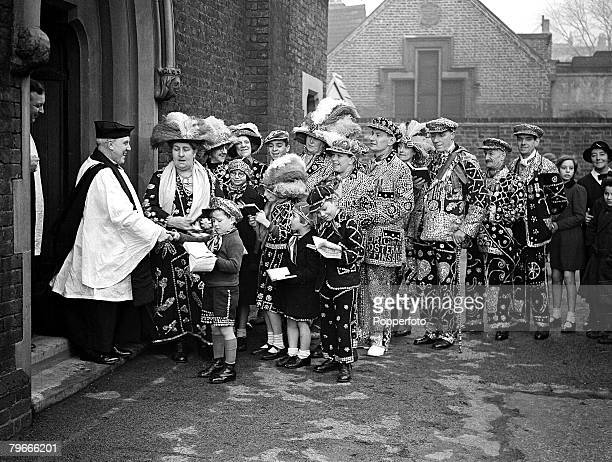 9th January 1938 England Pearly Kings and Queens along with their children attend a Pearlies service at St Mary Magdalence church old Kent road London