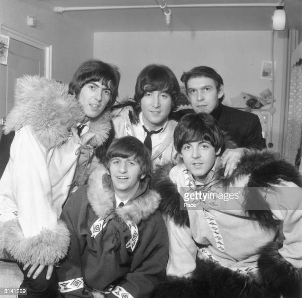 Beatles' roadie and future MD of Apple Corps Neil Aspinall with the band George Harrison Paul McCartney Ringo Starr and John Lennon