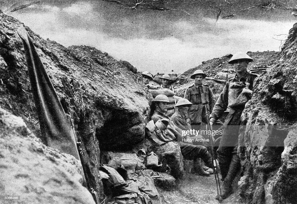 Infantry of the 15th Brigade in a bomb-step close to the enemy line near Morlancourt.