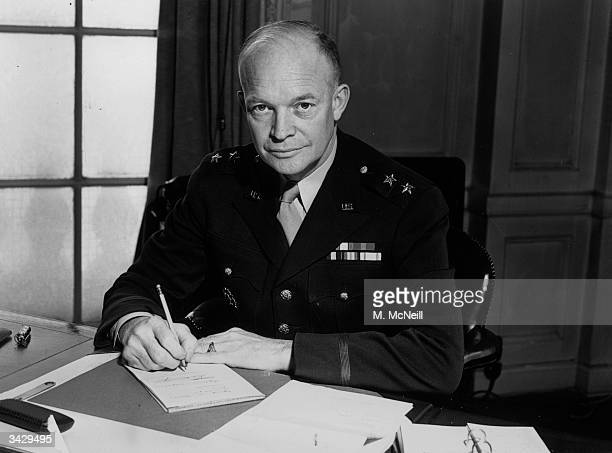 MajorGeneral Dwight Eisenhower commander of the American Forces in the European theatre of war at the time of his promotion by President Roosevelt to...