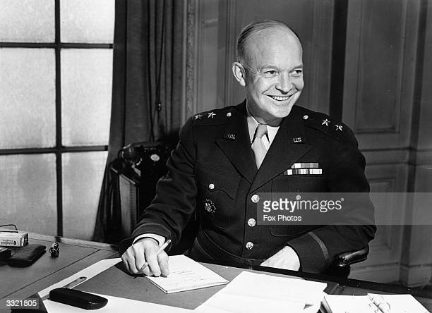Newlypromoted LieutenantGeneral Dwight D Eisenhower supreme commander of the Allied forces in Europe and later 34th President of the United States of...