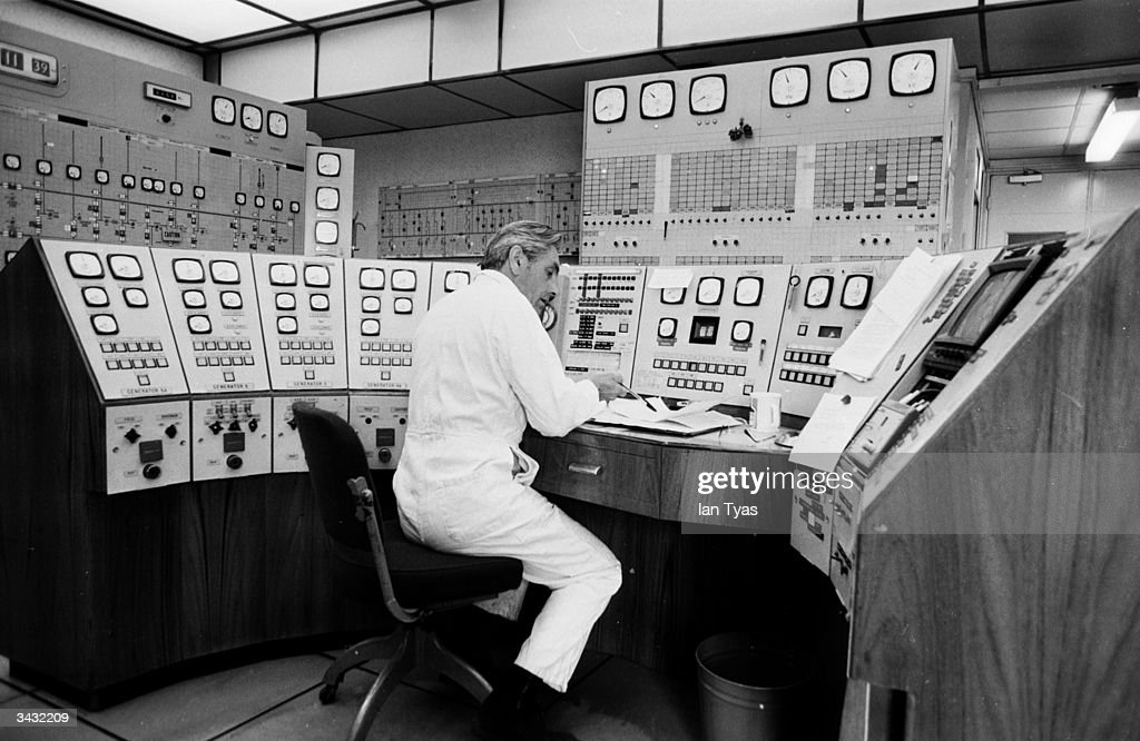 A lone operator at work in the control room of Battersea Power Station in London The impressive building is due for closure in 1983 and an...