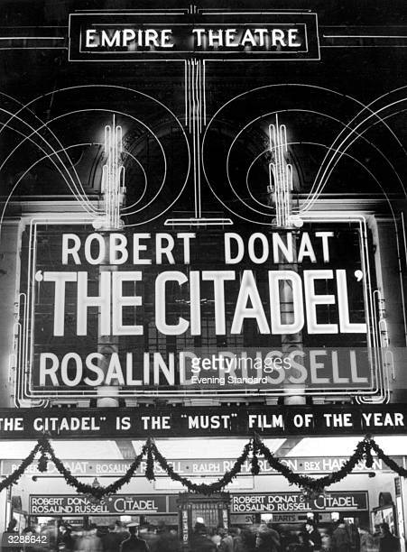 The Empire cinema in Leicester Square London The film showing is 'The Citadel' starring Robert Donat and Rosalind Russell
