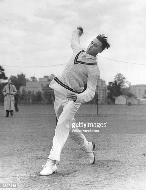 Hugh Tayfield South Africa cricketer who took 170 wickets for South Africa bowling in the practice nets Original Publication Picture Post 5318 'Ware...