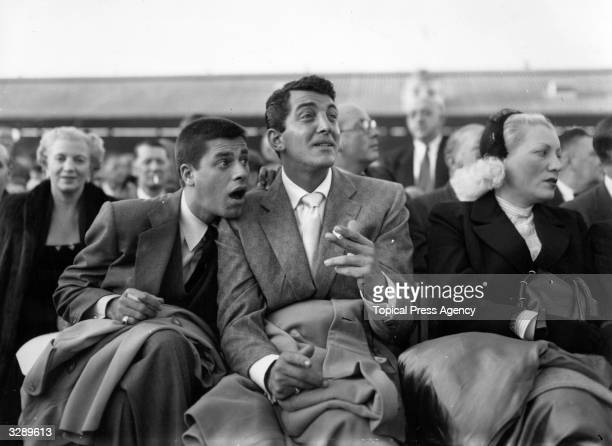 Dean Martin the Hollywood film star with Jerry Lewis at White City during the World Middleweight Championship of 1953