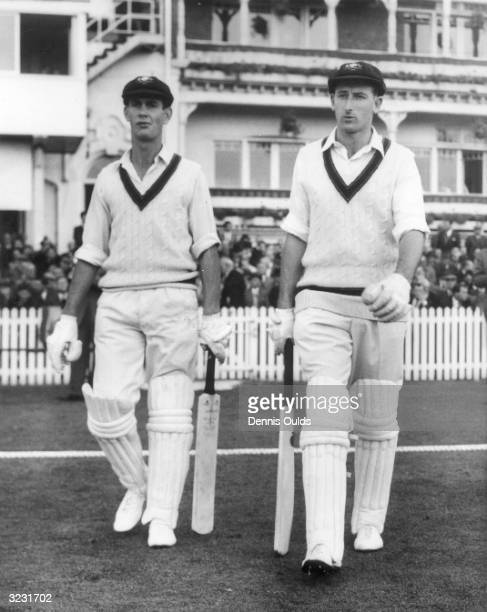 The Australian cricket captain Bill Lawry with his fellow opener Ian Redpath going out to bat at the First Test at Trent Bridge