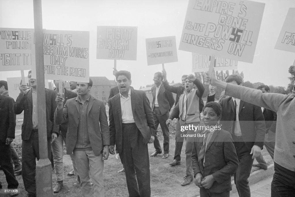 Antiracism demonstrators gather in Wolverhampton in protest to Enoch Powell's controversial immigration policy with antiPowell banners Mr Enoch...