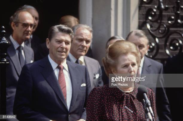British prime minister Margaret Thatcher American president Ronald Reagan and US Secretary of State Alexander Haig outside Number 10 Downing Street...
