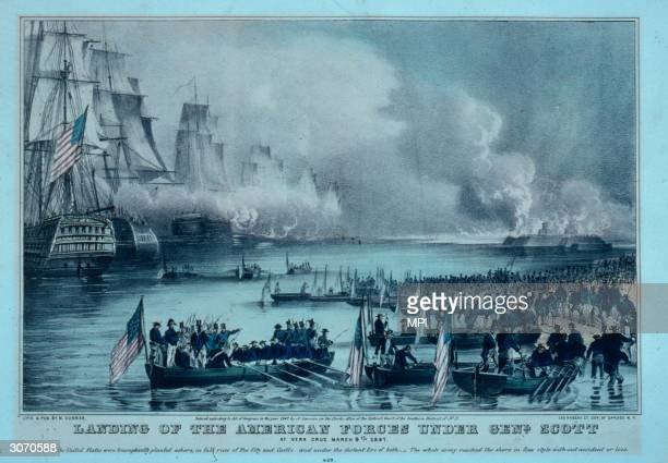 American troops landing at Veracruz during the MexicanAmerican War Original Artist By Nathaniel Currier