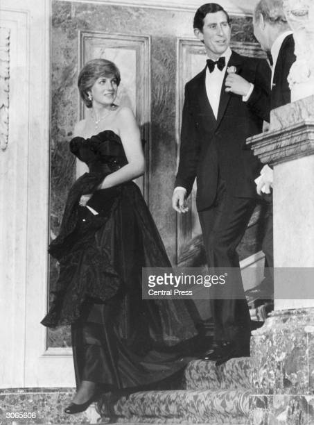 Prince Charles and his fiancee Lady Diana Spencer attend their first public engagement together a recital at London's Goldsmith's Hall in aid of the...