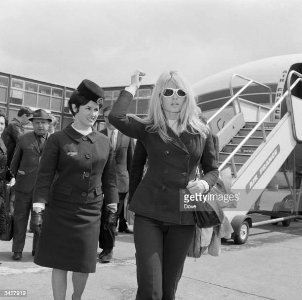 Brigitte Bardot arriving at Heathrow Airport