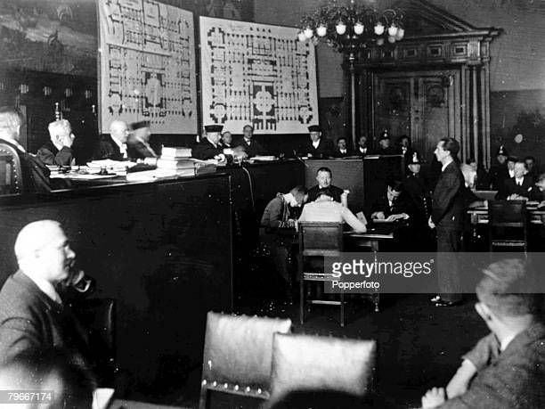 9th November 1933 Dr Goebbels German Minister of Propaganda gives evidence before the judges in court during the trial for the Reichstag fire when...