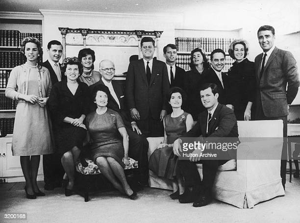 A group portrait of John F Kennedy surrounded by his family after the news that he won the US presidential election Hyannis Port Massachusetts