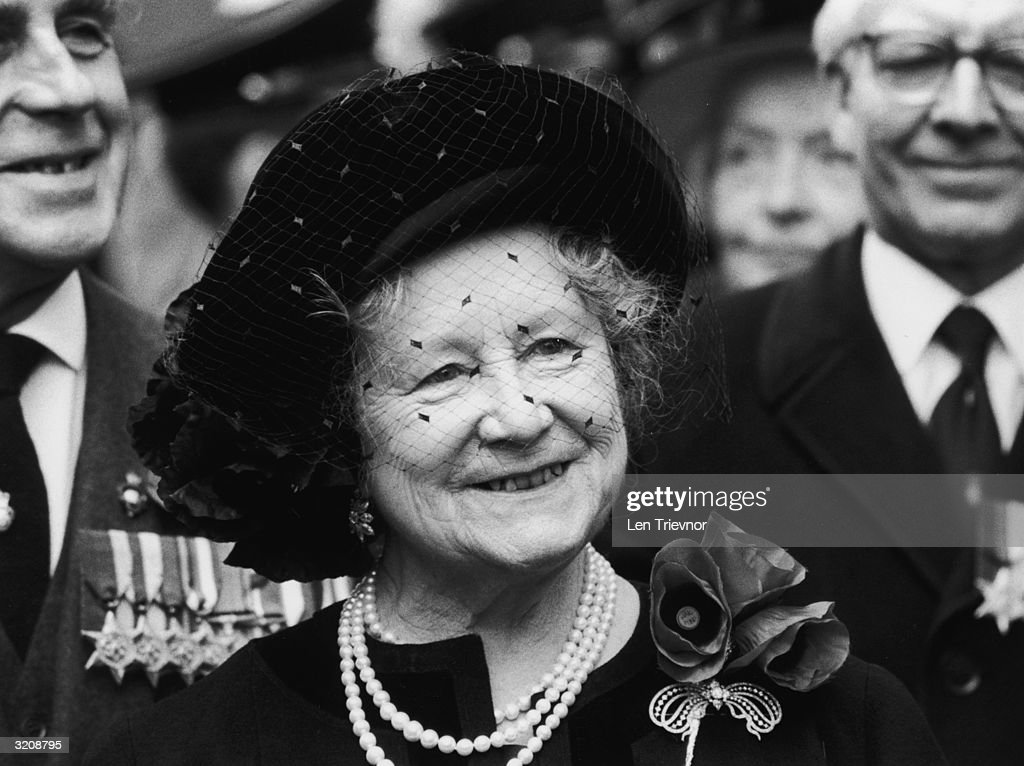 The Queen Mother (1900 - 2002) at a Remembrance Sunday memorial service.