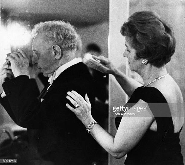 Polishborn US pianist Arthur Rubinstein and his wife Nela Rubinstein before a concert at the Royal Festival Hall London as soloist with the...