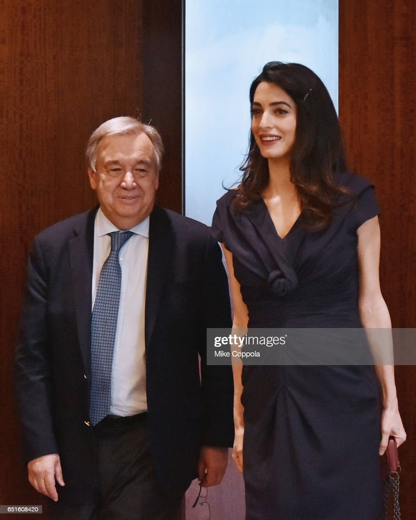 9th Secretary-General of the United Nations António Guterres (L) and Amal Clooney arrive at United Nations Headquarters on March 10, 2017 in New York City.