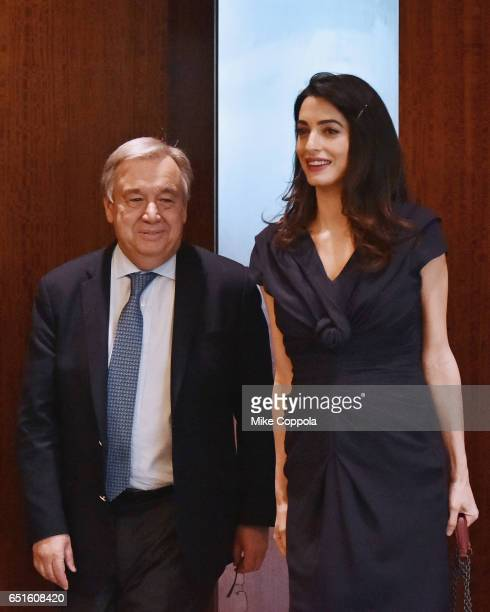 9th SecretaryGeneral of the United Nations António Guterres and Amal Clooney arrive at United Nations Headquarters on March 10 2017 in New York City