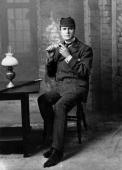 William Gillette as Sherlock Holmes in the eponymous play Playwright William Gillette Arthur Conan Doyle