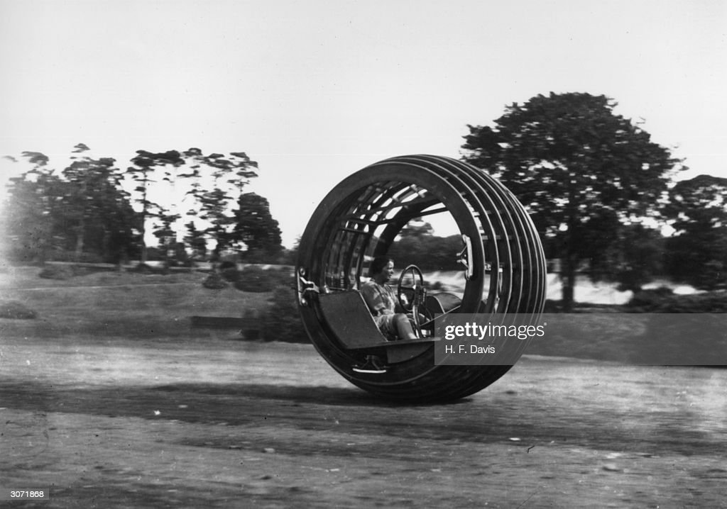 A 'Dynasphere' being demonstrated at Brooklands race track Surrey The dynasphere was invented by Dr J A Purvis of Taunton