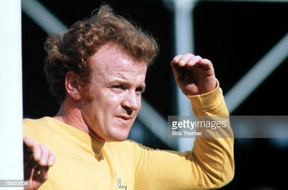 9th September 1972 Victoria Ground Leeds Stoke City v Leeds United Leeds captain Billy Bremner shields his eyes from the sun