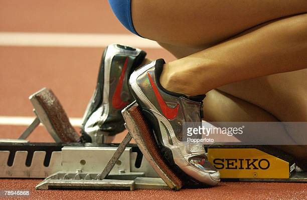 9th World Championships in Athletics Paris France 29th August 2003 Womens 4 x 400m Relay heats Close up of starting blocks and shoes used by the...