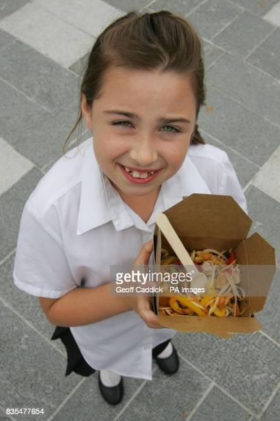 MAY 21 9yearold Chloe from St Mary's Church of England Primary School in Slough during a school visit with classmates to The Healthy Takeaway a food...