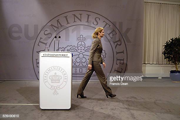DENMARK _MsHelle ThorningScmidt danish primeminister holds her weekly press conference at Mirror Hall christiansborg Pm office today on tudesday 20...