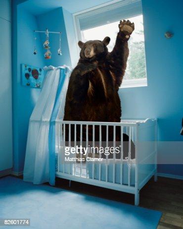 a bear inside a crib in a blue room