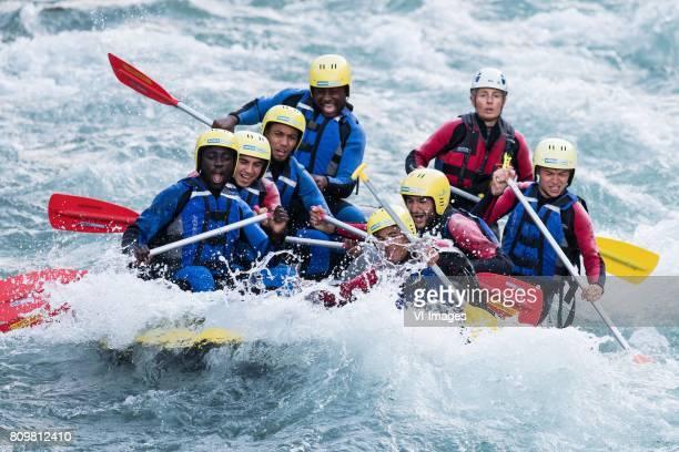 a boat with Davinson Sanchez of Ajax Abdelhak Nouri of Ajax Jairo Riedewald of Ajax Justin Kluivert of Ajax Hakim Ziyech of Ajax Daley Sinkgraven of...