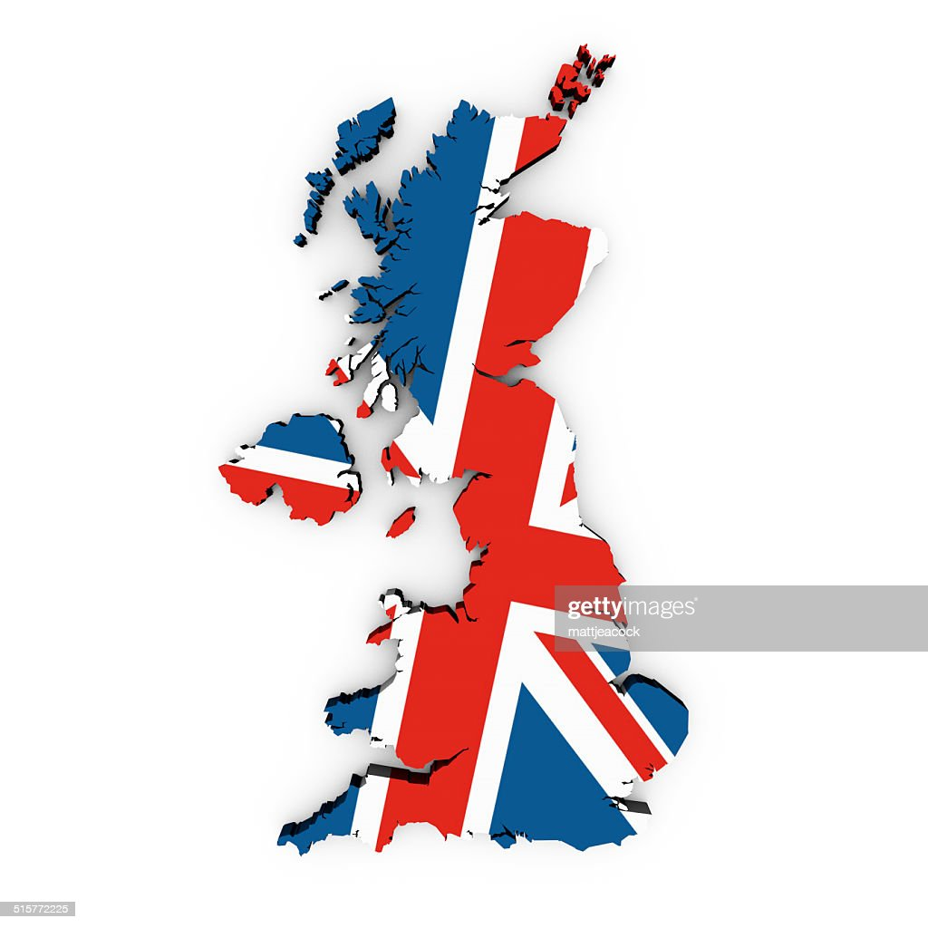 a british flag in the shape of the country of great britain stock