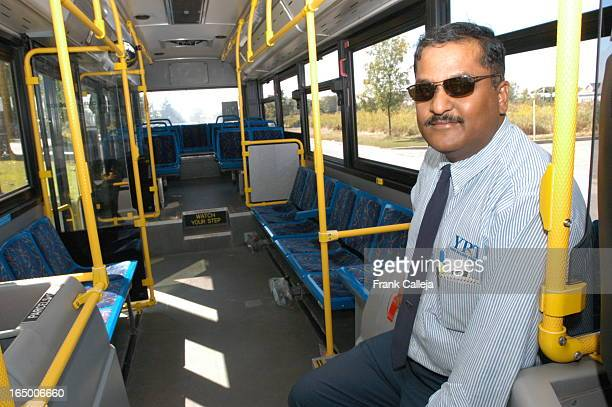 KAILASH a bus driver for York Region Transit waits for passengers for a new transit route the first bus to serve the York Region Town of...
