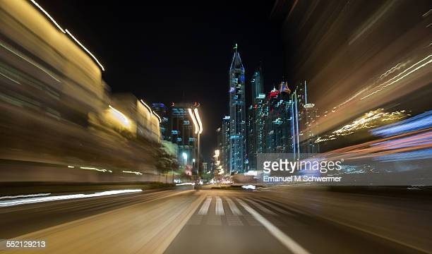POV of a car driving nights in Dubai