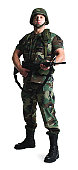 a caucasian male soldier dressed in army fatigues stands with his gun