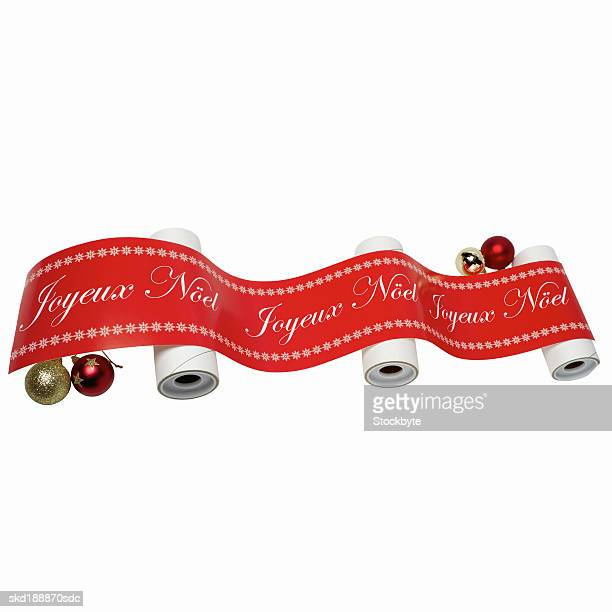 a Christmas banner and baubles