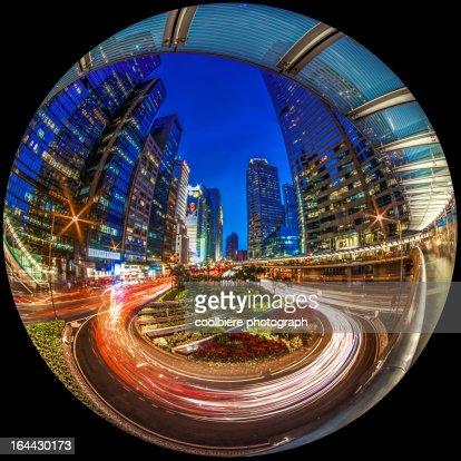 a circular shot of Hong Kong city at night