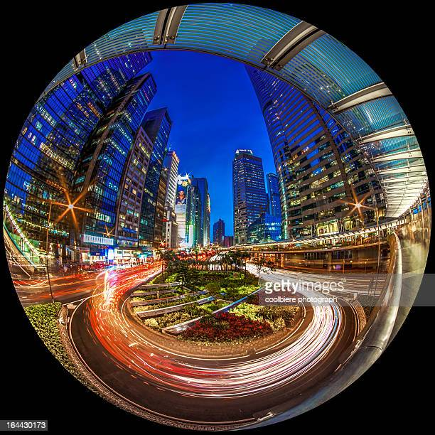 a circular shot of Hong Kong city at night