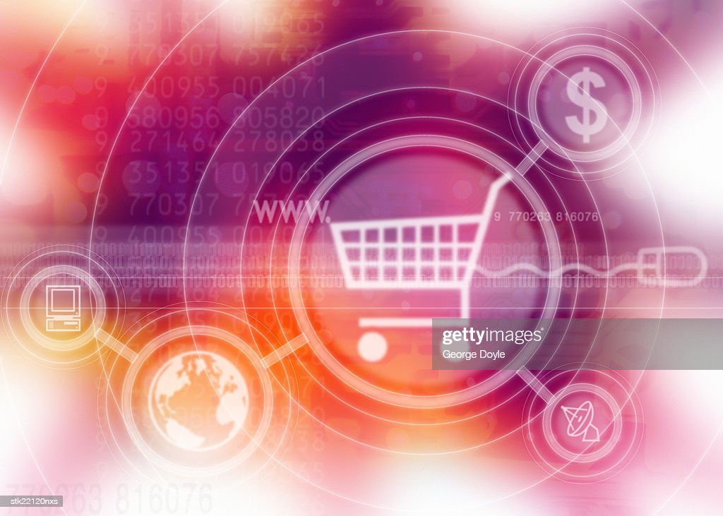 a computer screen icon of a shopping cart with symbols superimposed : Stock Photo