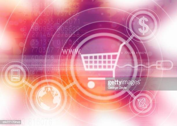 a computer screen icon of a shopping cart with symbols superimposed