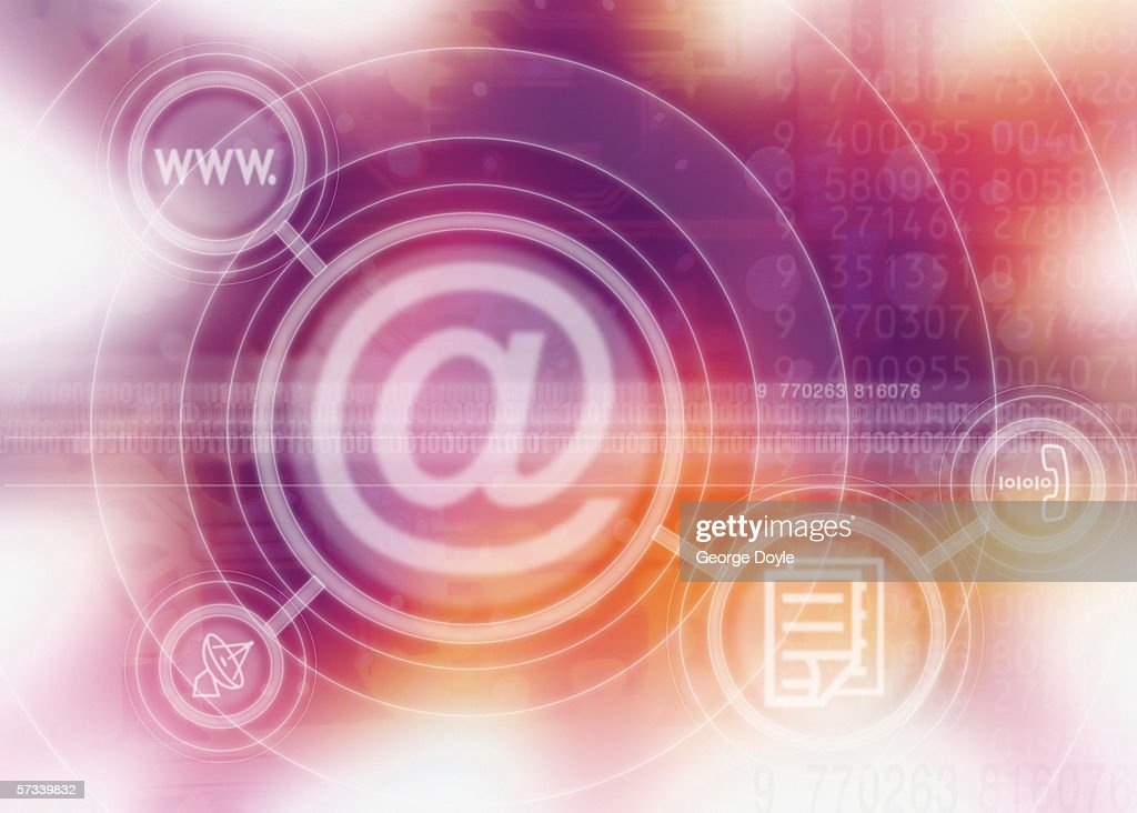 a computer screen icon of the @ sign with symbols superimposed : Stock Photo