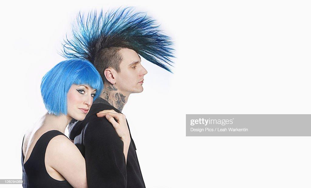 a couple with blue hair