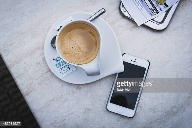 a cup of coffee at a table