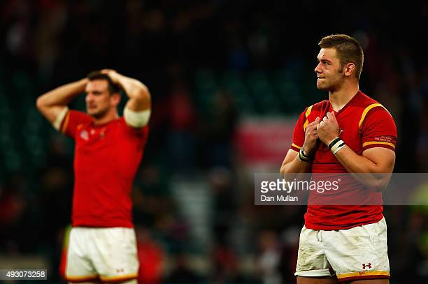 a dejecetd Dan Lydiate of Wales and Sam Warburton of Wales following the 2015 Rugby World Cup Quarter Final match between South Africa and Wales at...