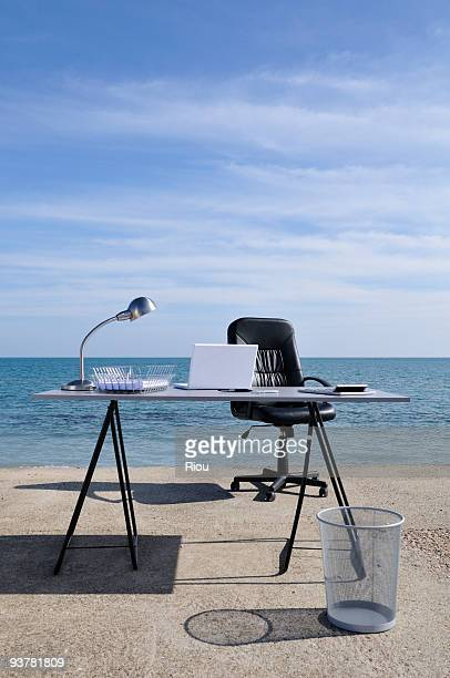 a desk by the sea